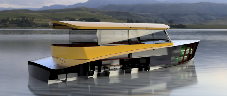 Hydrogen Watertaxi render showing right back side, including hydrogen tanks and fuel cell system. Floating in open water