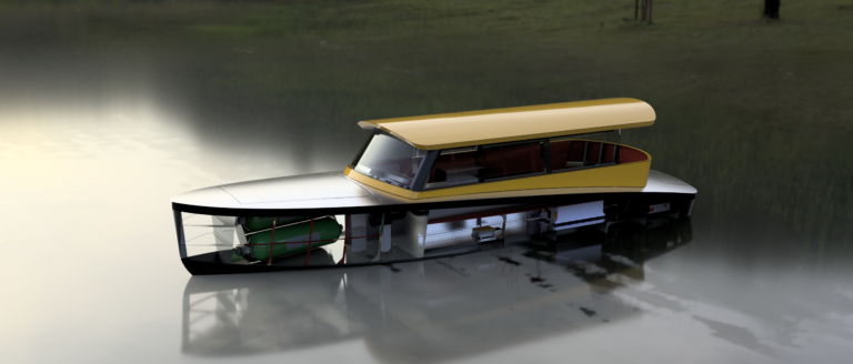 Hydrogen Watertaxi render showing left front side, including hydrogen tanks and fuel cell system. Floating in open water