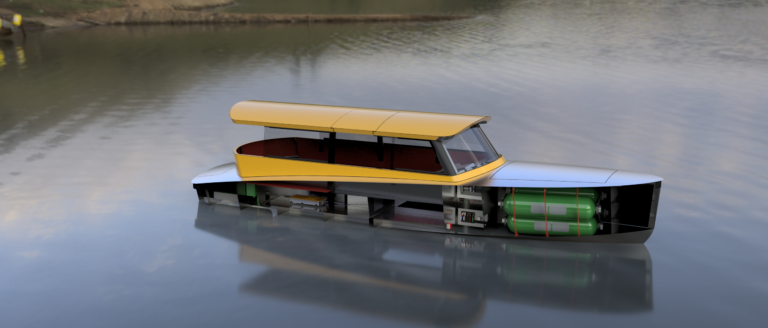 Hydrogen Watertaxi render showing right front side, including hydrogen tanks and fuel cell system. Floating in open water