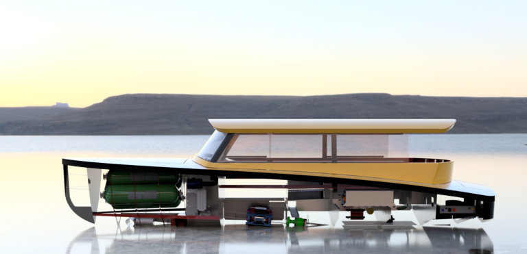 Hydrogen Watertaxi render showing left side, including hydrogen tanks and fuel cell system. Floating jn open water