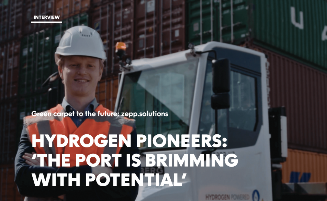 Screenshot of Port of Rotterdam article about zepp.solutions. Article focusses on fuel cell system solutions
